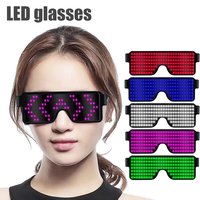 LED Glasses Glow Party Favor Light Up Glasses with Display Pattern USB Charging Glasses for Nightclub Birthday Party Supplies