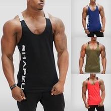 купить ZOGAA ropa de hombre 2018 tank top men Casual gym Letter print stitching vest 4 colors Cotton O-Neck tank top size S-XXL дешево