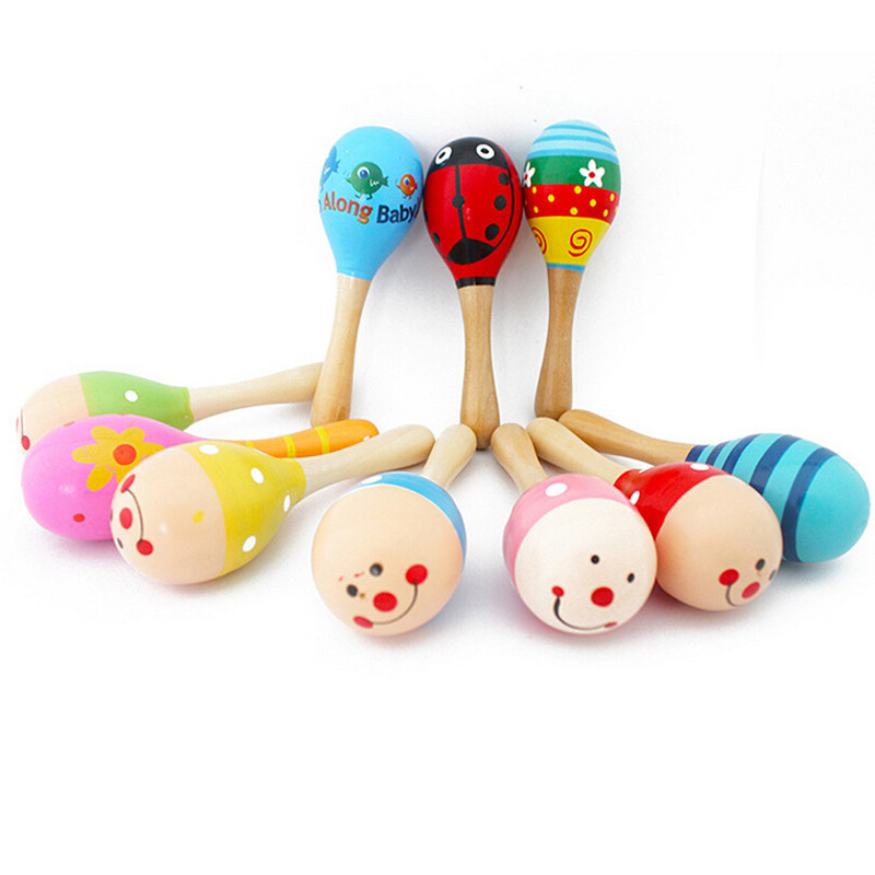 Colorful Wooden Maracas Baby Child Musical Instrument Rattle Shaker Party Children Gift Toy