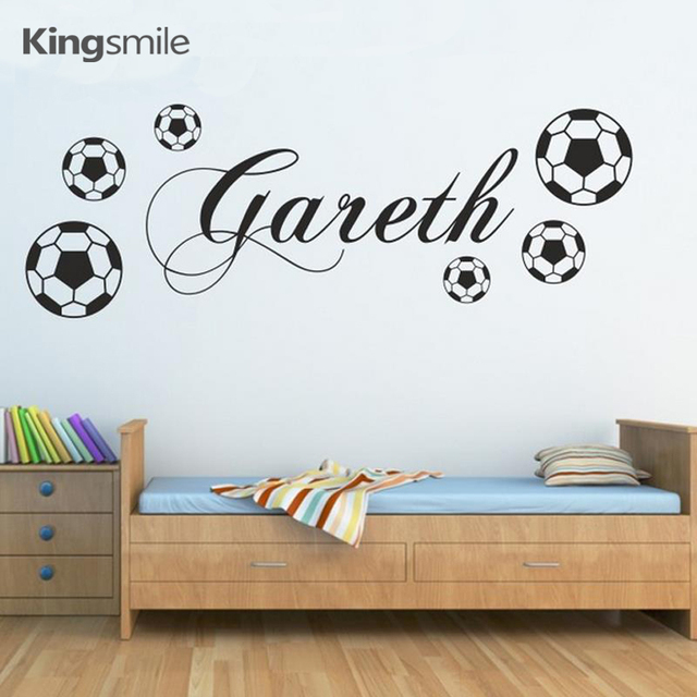 High Quality Football Wall Sticker Personalized Name Sports Kids Art Decals Vinyl PVC  Removable Boys Poster Rooms Decoration