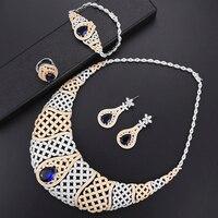 Missvikki супер индийские африканские украшения с синим кристаллом для Дубая золотые свадебные украшения набор женщин юбилей сцены Вечерние