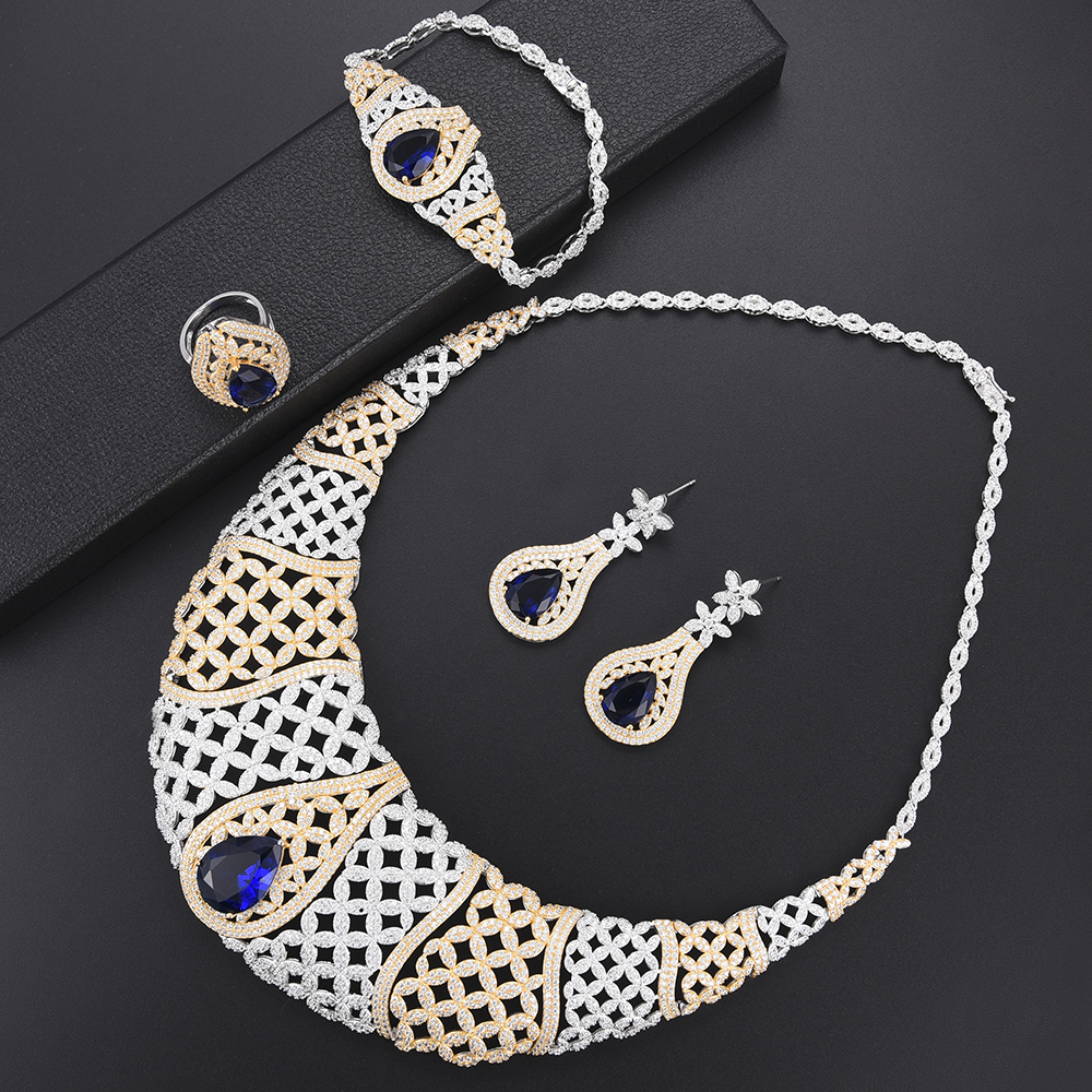 missvikki Super Indian African Blue Crystal Jewelry For Dubai Gold bridal jewelry set Women Anniversary Stage Performance party