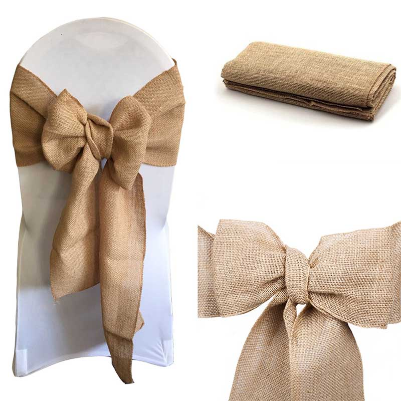 100pcs Burlap Chair Bow sashes Burlap Ribbon for Banquet Wedding Party Baby Shower Craft Chair Cover