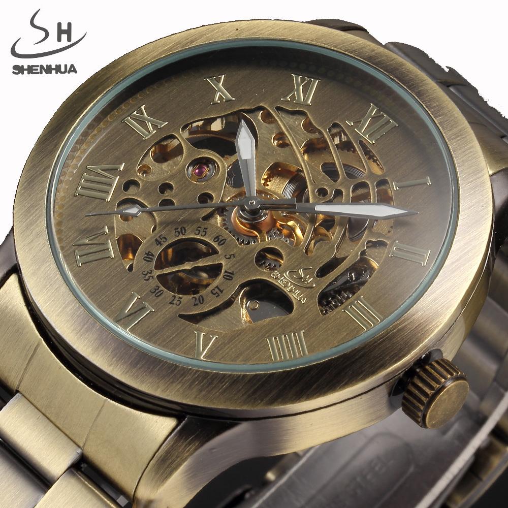 Prix pour 2017 SHENHUA Marque De Luxe Bronze Hommes Squelette Mécanique Montres Homme Horloge Bracelet En Acier Inoxydable Mode Casual Automatique Montre