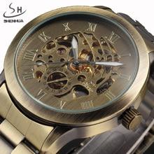 SHENHUA מותג יוקרה גברים שלד מכאני שעונים רצועת זכר שעון פלדה אל חלד ברונזה אופנה מקרית אוטומטי צפה