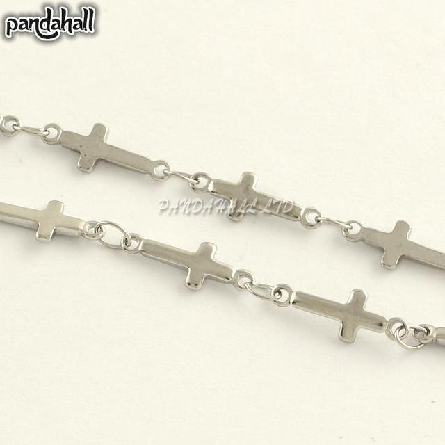 304 Stainless Steel Cross Link Chains, for Holy Jewelry Making, Stainless Steel Color, 13x5x1.2mm; about 25m/roll