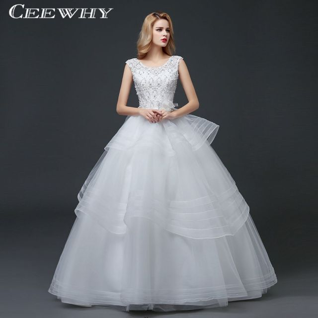 CEEWHY Lace Tulle Embroidery Beading Wedding Dresses Ruffles Ball Gown  Wedding Party Dress Crystal Bridal Gown