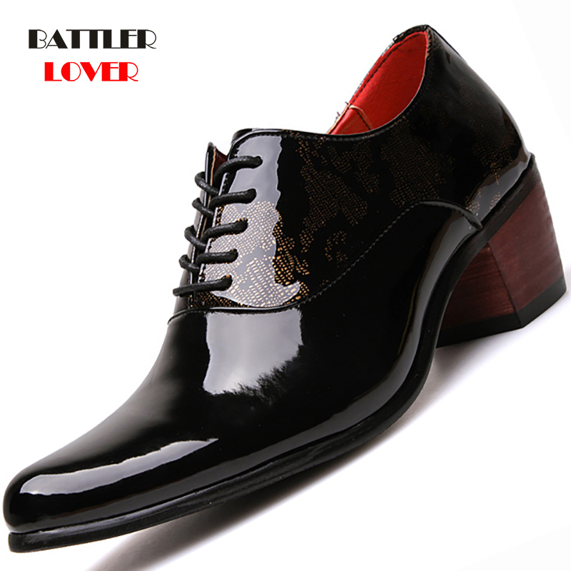 Business Men Dress Shoes Patent Leather Pointed Toe Wedding Formal Shoes Men Wood Outsole Office Footwear Male High Heels Shoes