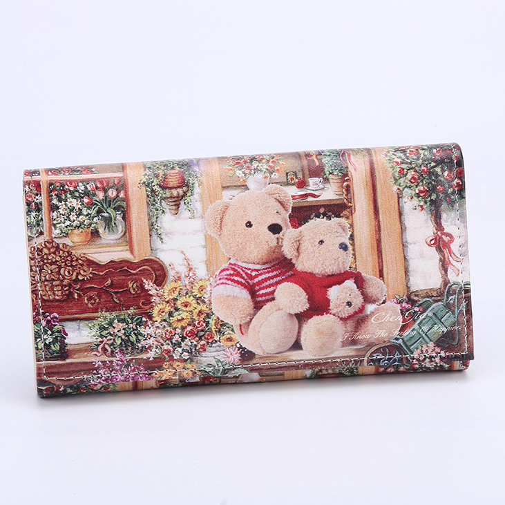 Fashion Women Wallets Lady Purses Handbags Coin Purse Bear Animal Prints Long Clutch Wallet Cards Holder Girls Burse Money Bags