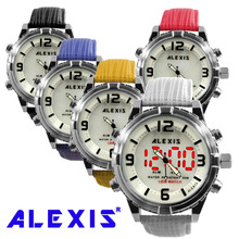Alexis Fashion Men Water Resistant LED Anadigit Watch Good All Geninue Leather Band Black,White, Blue, Red, Yellow elegant blue hybrid touch screen led watch with 60 blue led lights high class design leather band support touchscreen
