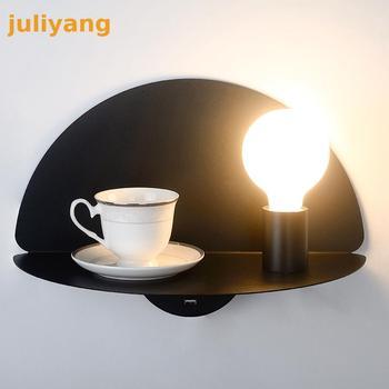 Duvar lambası yatak odası başucu lambası oturma odası çalışma İskandinav minimalist modern duvar rafları masaüstü USB şarj fişi
