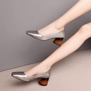 Image 2 - ALLBITEFO באיכות גבוהה מלא אמיתי עור נשים נעלי עקבים כיכר טו אביב אופנה סקסי נשים גבוהה עקב נעליים גבוהה עקבים