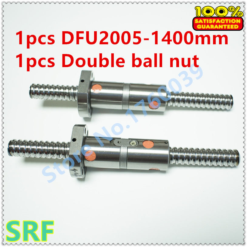 ФОТО 1pcs 20mm Rolled Ballscrew RM2005 Length 1400mm with DFU2005 Ball screw Double ball nut no end machined
