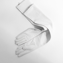 65cm(25.6) long classic plain style top sheep leather opera gloves white