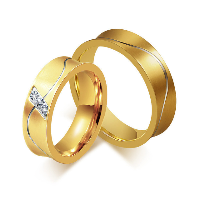 Stainless steel rings Cubic Zirconia jewelry gold color love classic