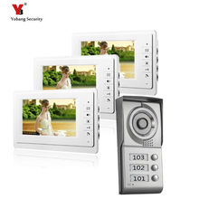 Yobang Security freeship 3 Apartment Video Door Phone Intercom System 1 Doorbell Camera with 3 button 3 Monitor Waterproof