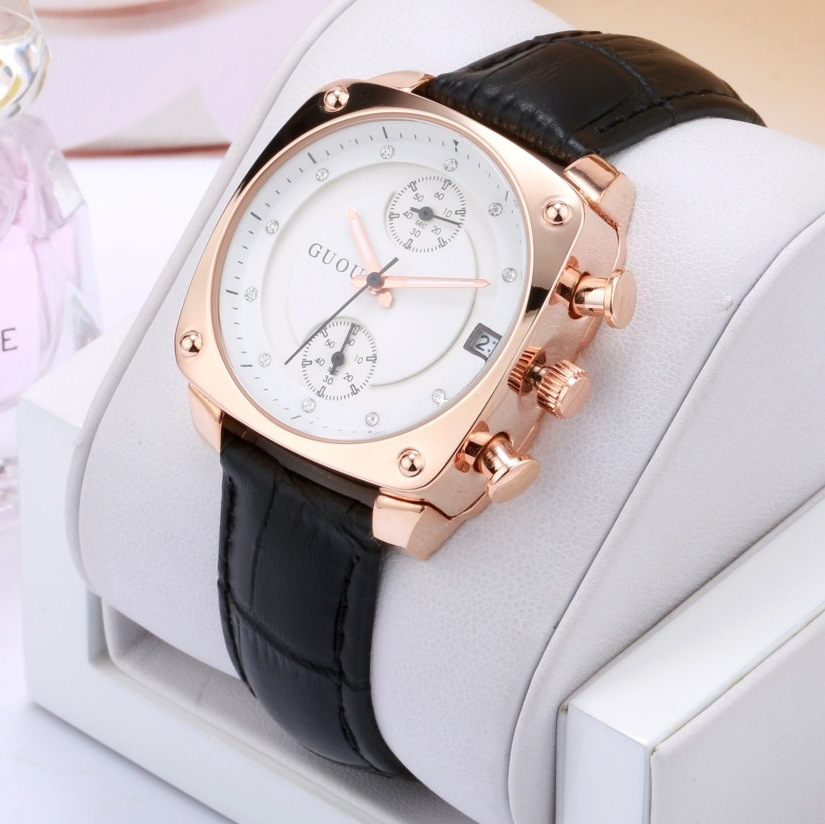 2018 Fashion Guou Brand Watch Luxury Crystal Rose Gold Women Genuine Leather Ladies Auto Date Lady Hour Clock Relogio Feminino