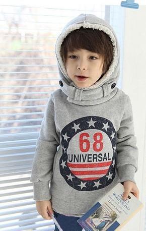 Frete grátis! hoodies crianças fleece Digitais longo-manga comprida de lã com capuz Espessamento fleece