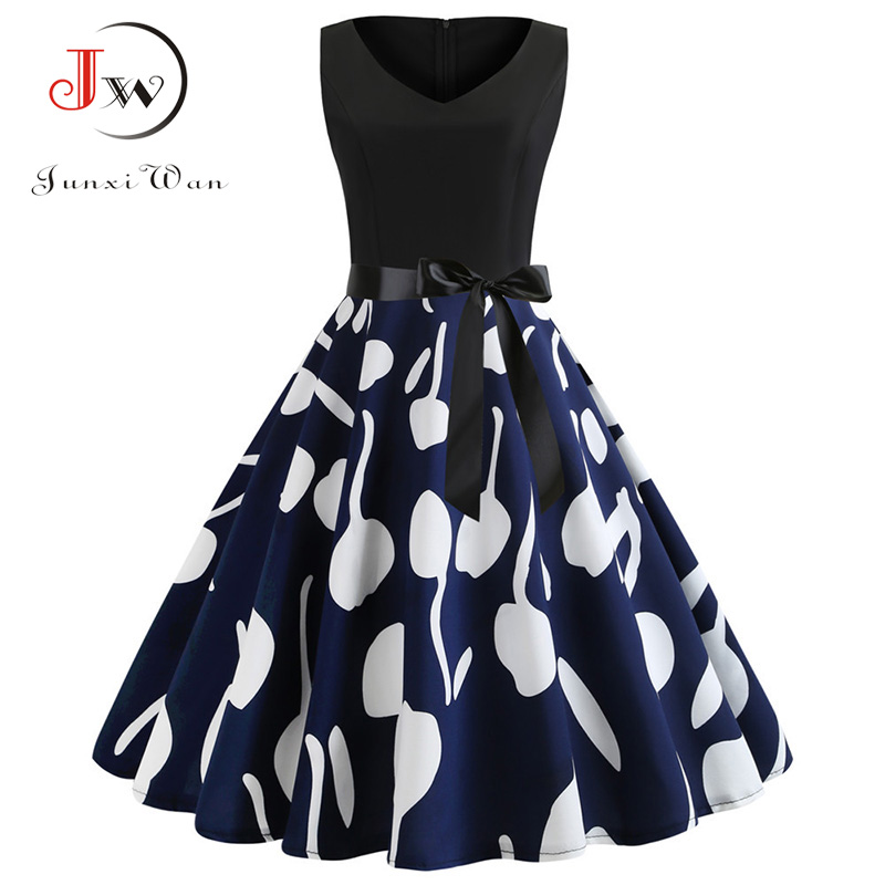 Blue Vintage Dresses 2020 Floral Print Summer Dress for Women 50s 60s Sleeveless Sexy V Neck Party Dress Robe Vestidos Mujer 1