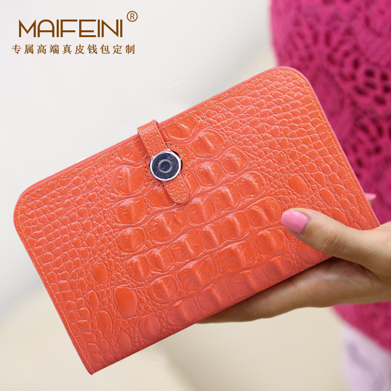MAIFEIN New Fashion Alligator Pattern Woman Long Wallet Genuine Cow Leather ] Large-capacity Hand Bag Clutch Gift card package europe station genuine leather joint capacity mommy fashion trend both shoulders foreign trade woman package generation hair