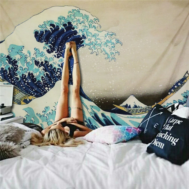Japanese Style Great Wave Wall Tapestry 2