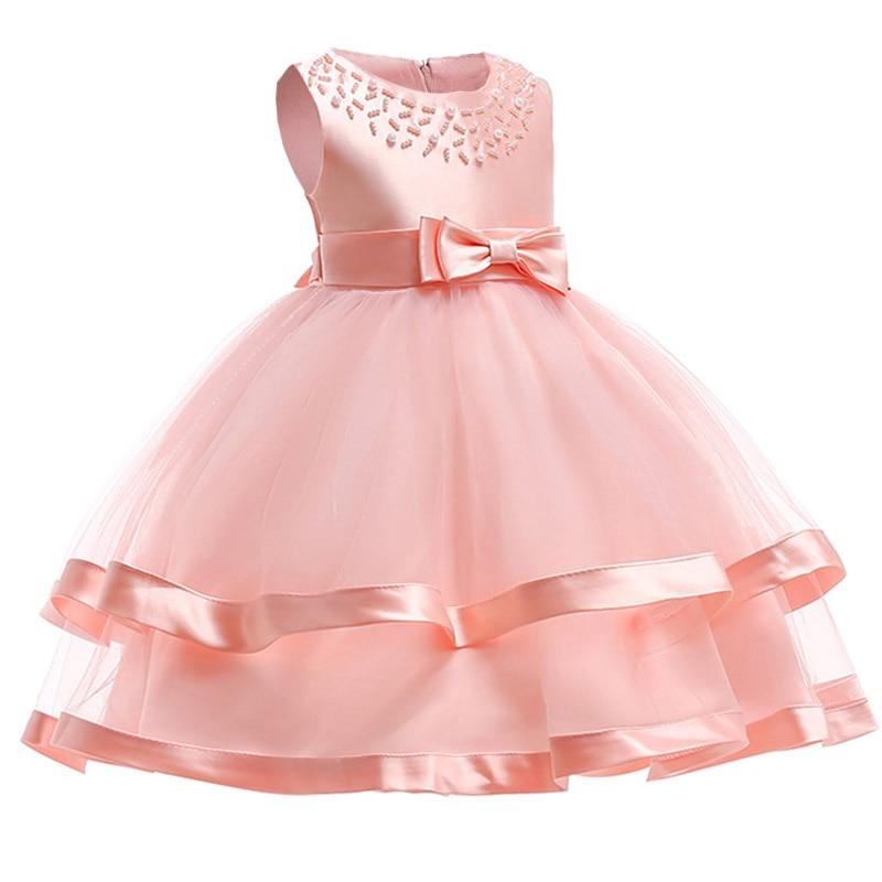 Children Clothing Bead Mesh Flower Girl Dresses For Wedding Clothes First Communion Princess Dress Baby Tutu Costume L5017