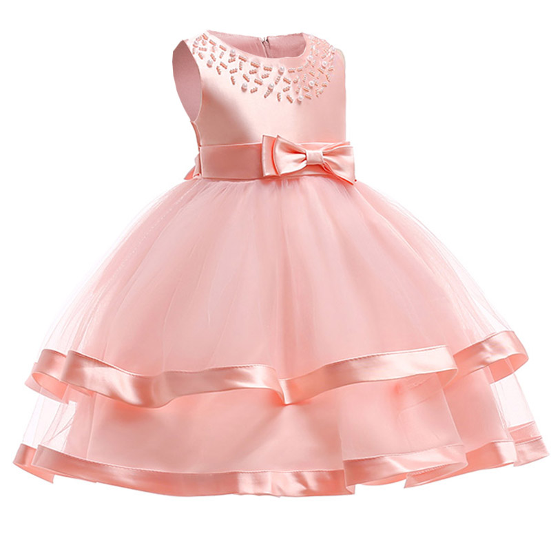 children clothing bead mesh   flower     girl     dresses   for wedding clothes first communion princess   dress   baby tutu costume L5017