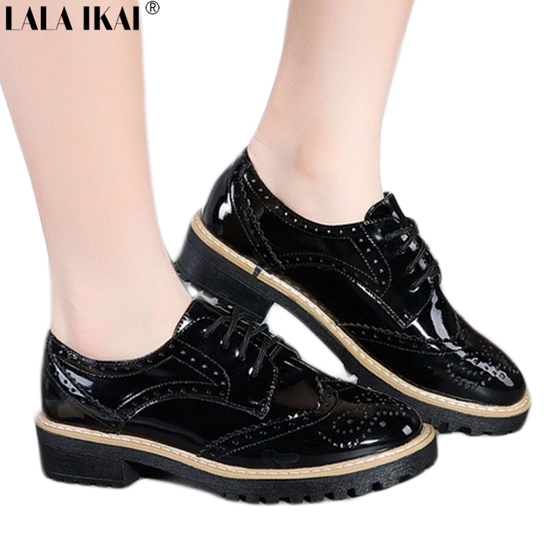 0e707ec4845 LALA IKAI Patent Leather Shoes Woman Brogues Lace up Round Toe Oxford Shoes  for Women Flat Shoes Platforms XWB0081 5-in Women s Flats from Shoes on ...