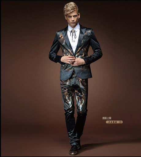 men's Slim small suit male two piece stylish jacket