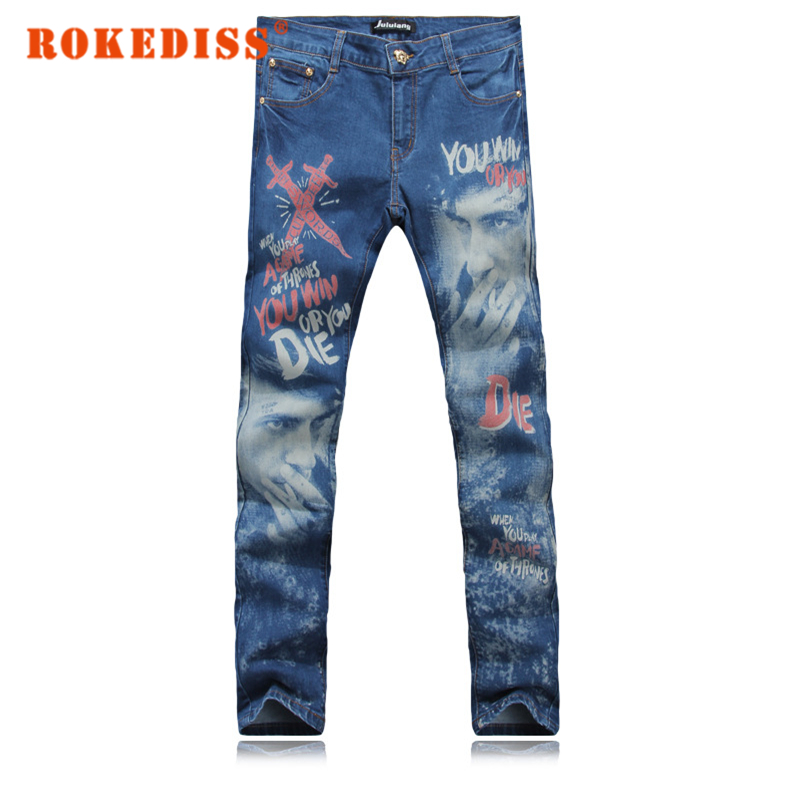 Fake designer clothes street Slim Foot pants Male personality printing Mens jeans pantalones vaqueros hombre men
