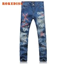 Поддельные дизайнер одежды улица Тонкий Ноги брюки Мужской личности печати Мужские джинсы pantalones вакеро hombre мужчины G249