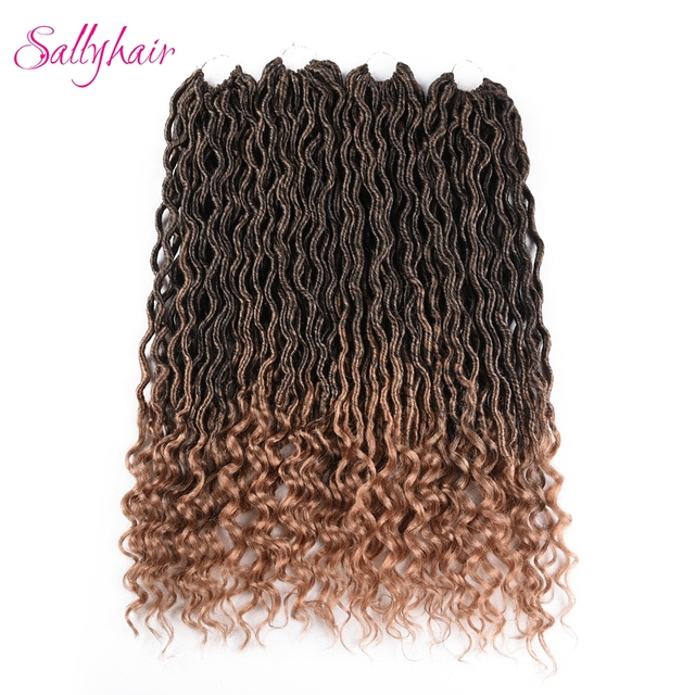 Sallyhair 24 Strandspack Faux Locs Curly Synthetic Ombre Color