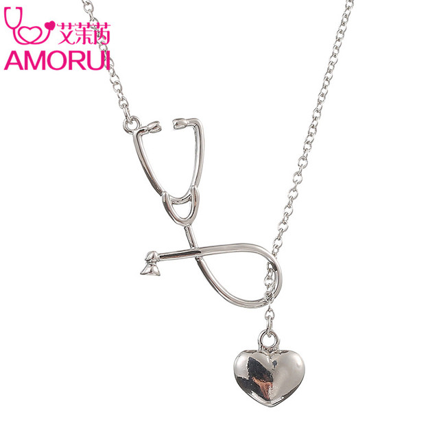 AMORUI Medical Stethoscope Lariat Heart Pendant Necklace Nurse Doctor Gold/Silver Color Gift Fashion Jewelry Bijoux Femme 2