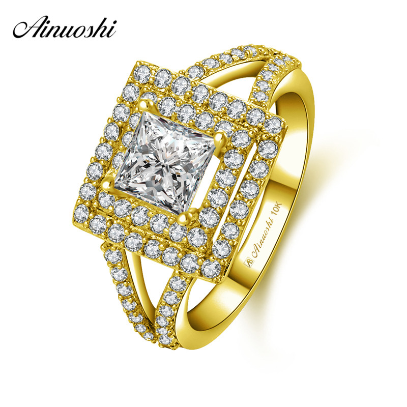 AINUOSHI 10k Solid Yellow Gold Double Halo Square Ring Lady Wedding Engagement Jewelry 1ct Princess Cut SONA Diamond Bridal Band