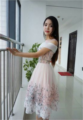 Princessally New Pink Short Evening Dress Flower Appliques Lace Short Sleeve Vintage Elegant Formal Homecoming Gown Robe Soriee 6