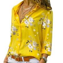 Blouse Shirt Work-Wear Turn-Down-Collar Casual Tops Long-Sleeve Elegant Plus-Size 5XL