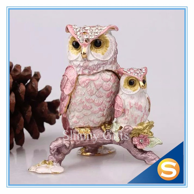 US $12 99 |Pewter Owl Trinket Collectibles Boxes Oriental Vintage Owls  Trinket jewelry Box-in Bottles, Jars & Boxes from Home & Garden on