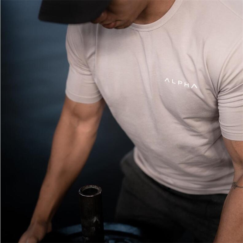 2019 New Brand Clothing Gyms Tight Cotton T-shirt Mens Fitness T-shirt Homme Gyms T Shirt Men Fitness Crossfit Summer Tees Tops
