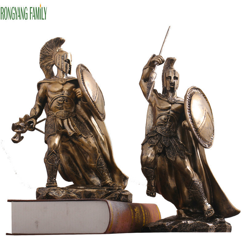 Ancient Rome Ornament Sculpture Middle Ages Character Statue Resin Desktop Justice Warrior Figurines Home Office Decorate Crafts