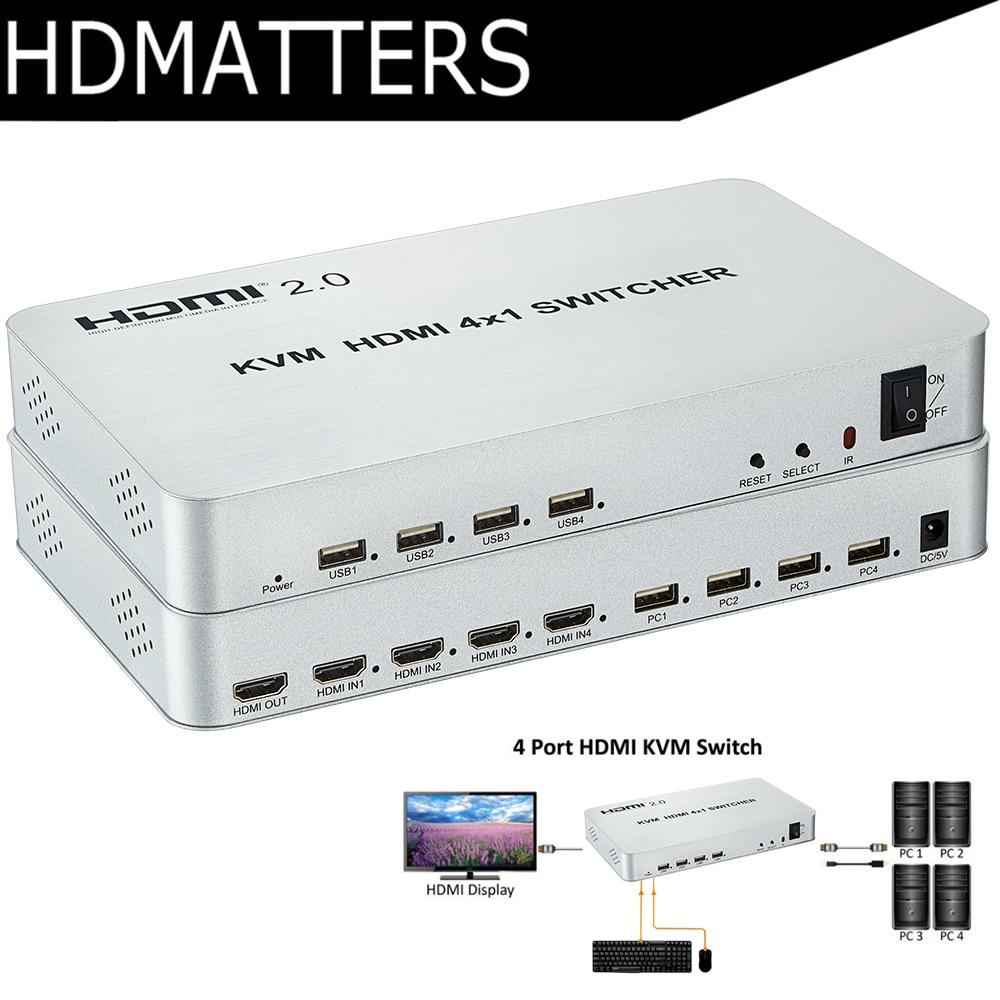 4 port HDMI USB KVM Switcher 4kX2K HDMI 2 0 Switch 4X1 control up to 4