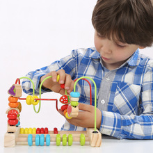 24.5*15*21cm Children Kids Baby Colorful Wooden Around Beads Math Toys Educational Game Toys