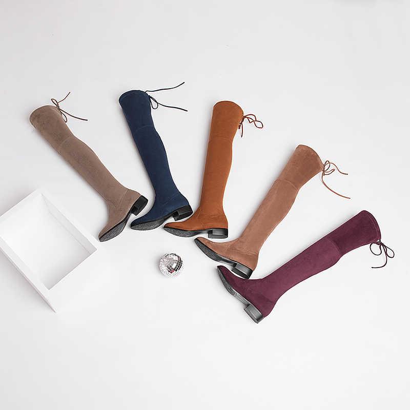WETKISS Kare Alçak Topuk Kadın Streç Kumaş Diz çizmeler kadın ayakkabıları 2018 Yeni Kış Bayanlar Motosiklet Botları Boyutu 34- 43