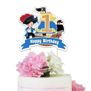 Pirate Cake Topper Cartoon Insert Party Supplies Decor Pirate Birthday Party Cake Topper Decoration Pirate Centerpiece Decor фото