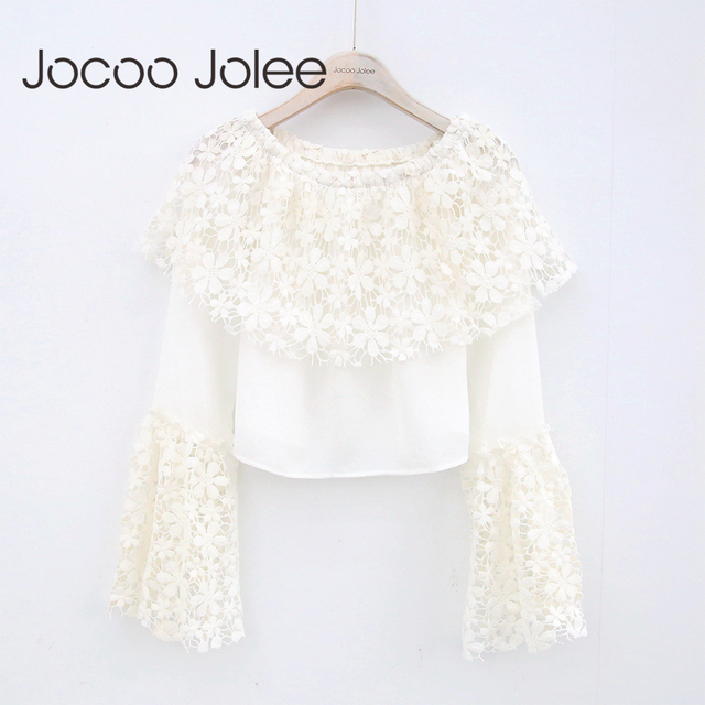 Jocoo Jolee Women Lace Sexy Off Shoulder Blouse Flare Sleeve Renda Crochet Casual Shirts Tops High Street Short Clothing 2018