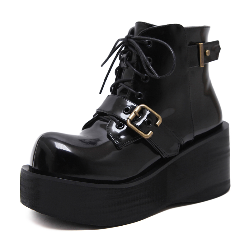5d24b2c1cf Botas Invierno Mujer Fashion Platform Shoes Women Punk Black Gothic Ankle  Boots Womens Platform Wedge Lace up Motorcycle Boots-in Ankle Boots from  Shoes on ...