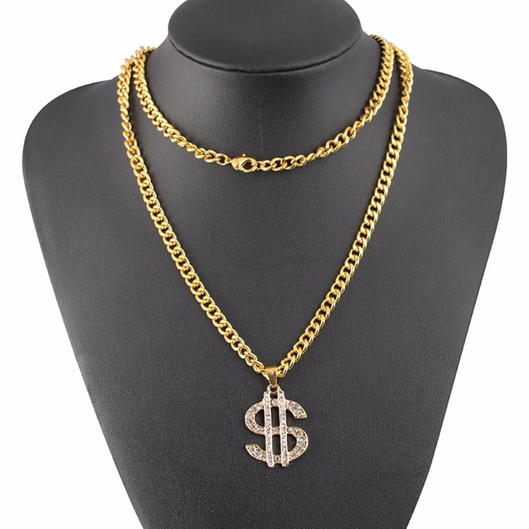 Shellhard Hip Hop Jewelry US Dollar Money Pendant Necklaces Luxury Gold Color Long Chain Necklace Men Women Accessories Necklace