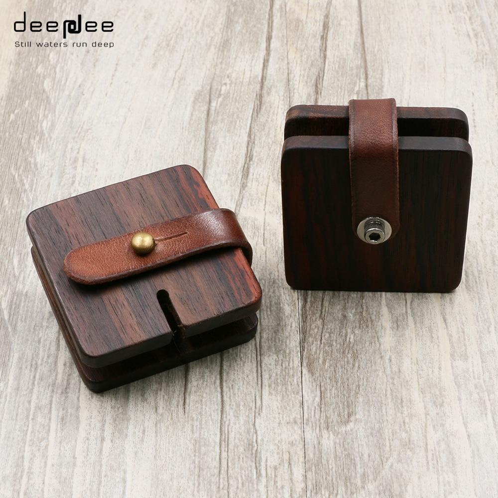 DEEPDEE Earphone font b Cable b font font b Winder b font Wrapped Leather USB Wood