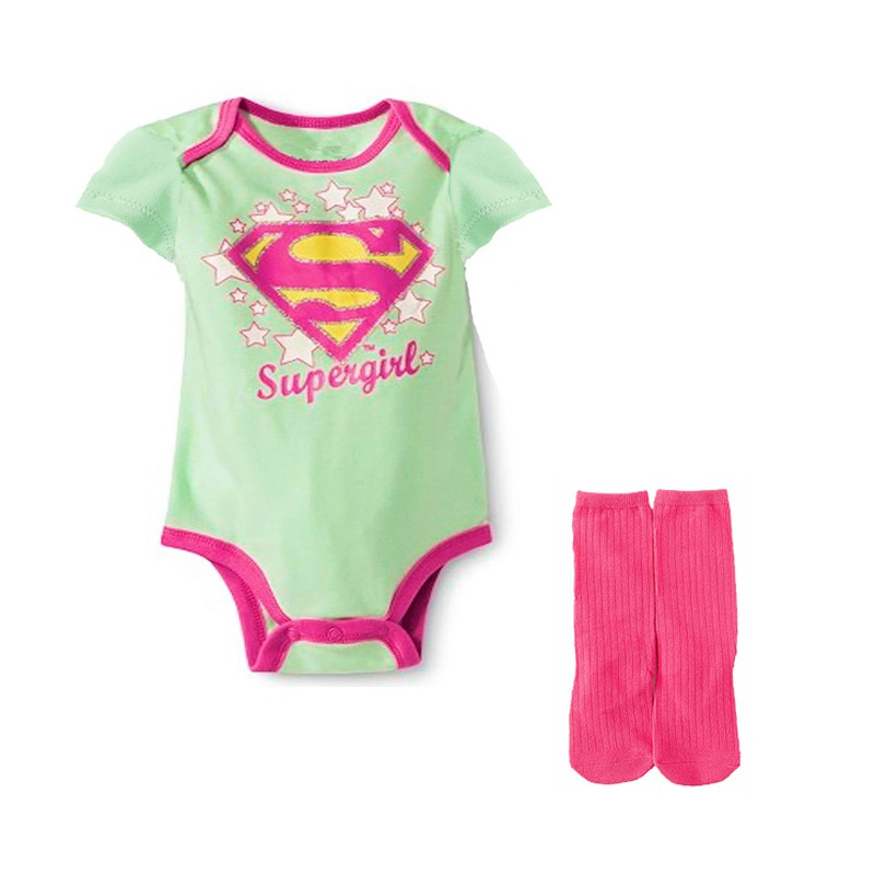 Cotton Newborn Baby Boys Girls Bodysuit Jumpsuit With Stockings Character Supergirl Casual Baby Triangle Jumpsuit Sets Clothes