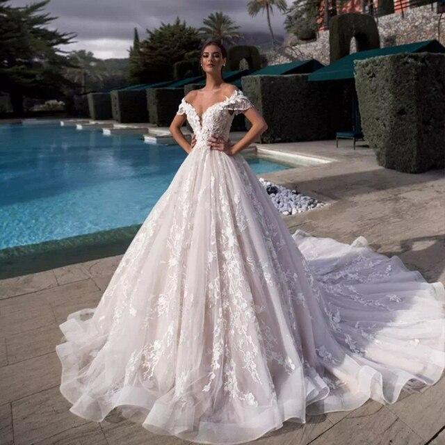Brautkleid Cổ Thuyền Chữ A Váy Áo Plus Kích Thước 2020 Tua Rua Nữ Tay Tuyệt Đẹp Suknie Slubne Phối Ren Lưng Áo Dây De Mariage