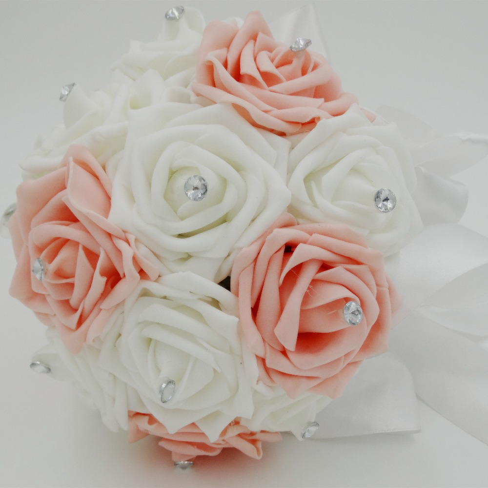 Customized Crystal Cheap Wedding Accessories Silk PE Rose Bouquet White Pink Artificial Bridal Supplies In Decorative Flowers Wreaths